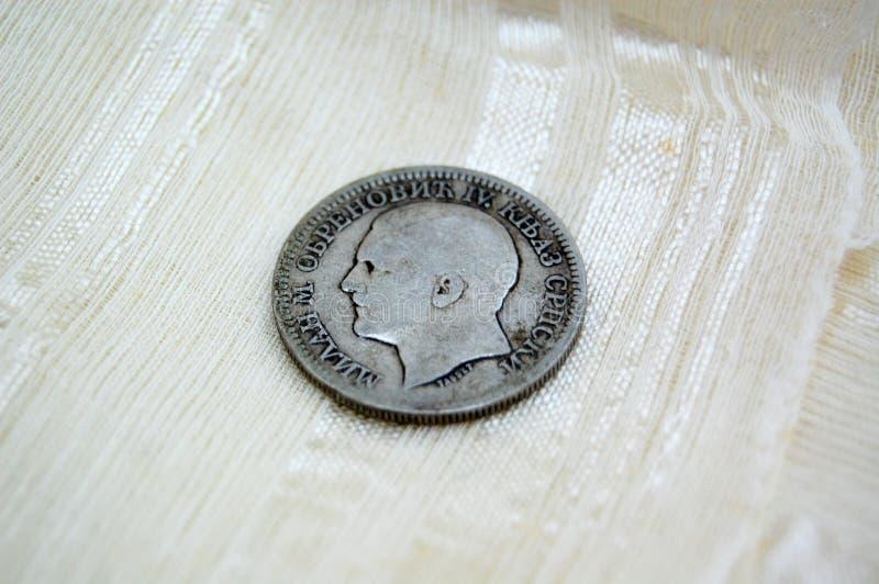 Gammalt serbiskt mynt royaltyfri fotografi