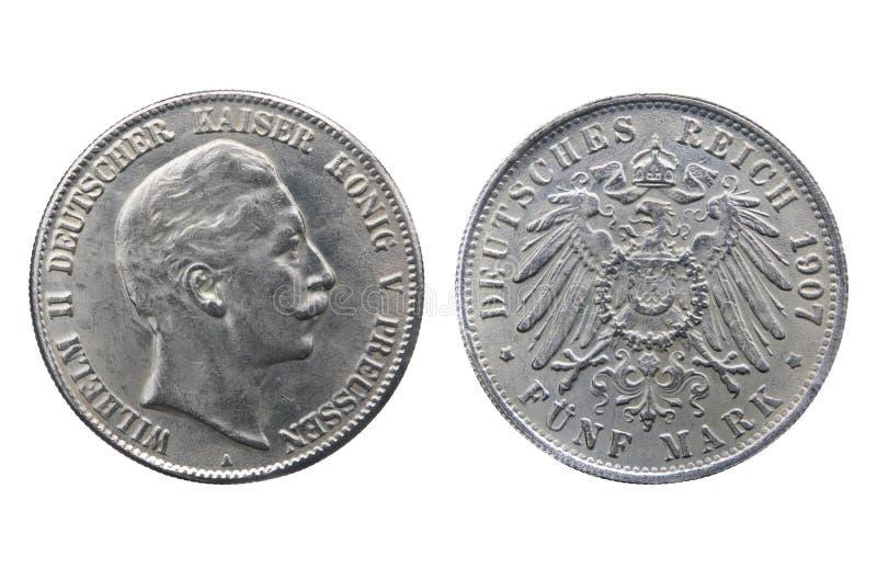 Gammalt silvermynt av den tyska reichen arkivfoton