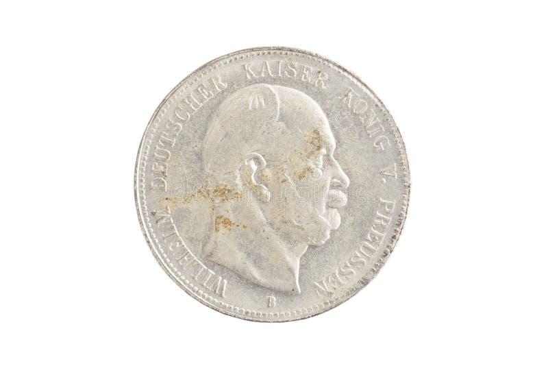 Gammalt silvermynt - tysk fläck arkivbilder