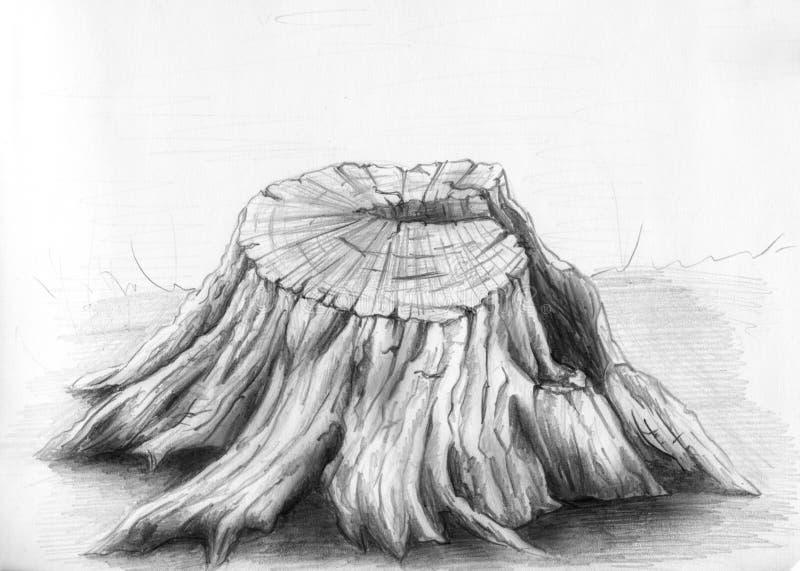 gammalt skissa stubbetreen royaltyfri illustrationer