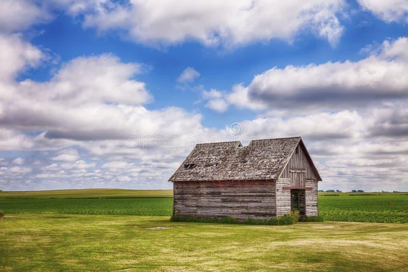 Gammalt skjul i det Iowa fältet royaltyfri bild