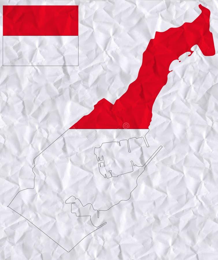 Gammalt skrynkligt papper för vektor med vattenfärgmålning av den Monaco flaggan och översikten royaltyfri illustrationer