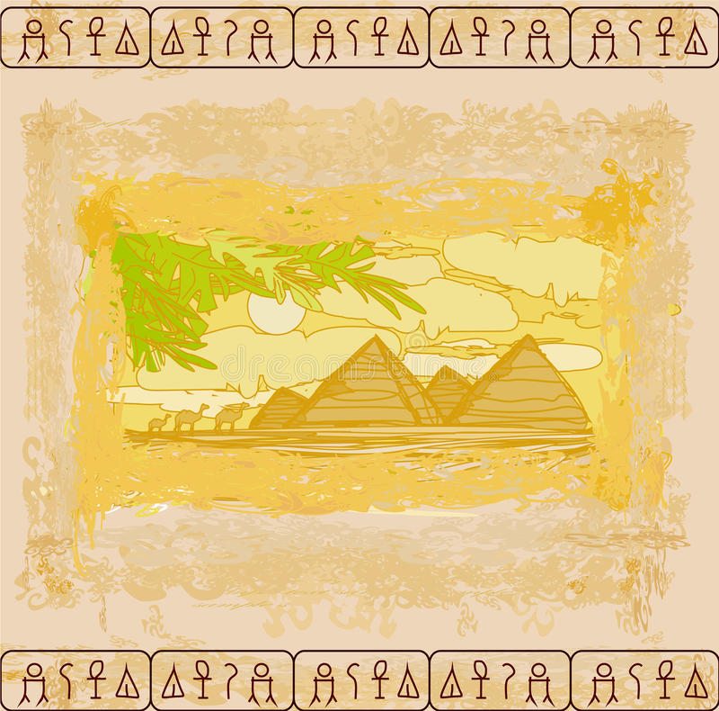 Gammalt skyla över brister med pyramider giza stock illustrationer