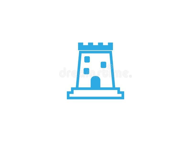 Gammalt slotttorn med den stora dörren i fönster för logodesign vektor illustrationer