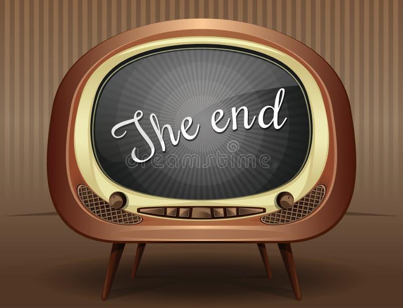 Gammalt slut för TV-sändning för svartvit TV av filmen royaltyfri illustrationer