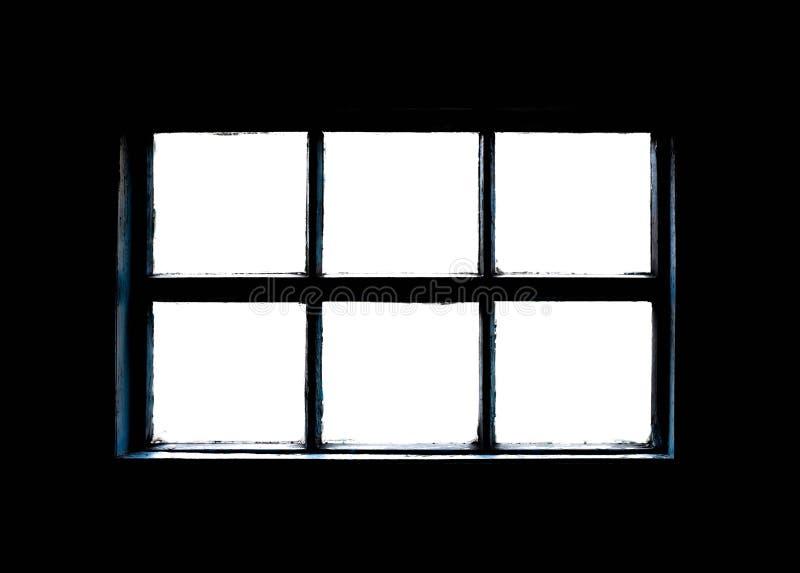 Gammalt smutsigt fönster med träram Stäng arkivfoto