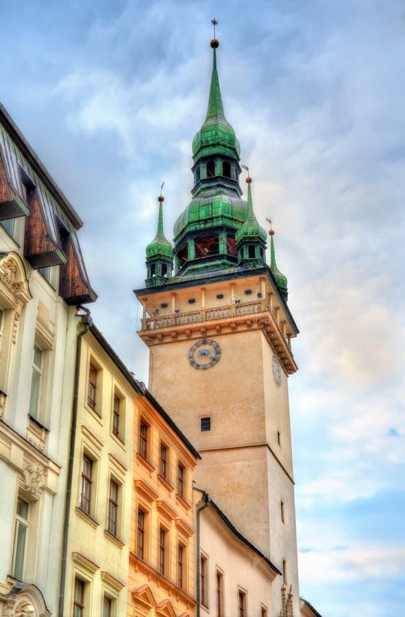 Gammalt stadshustorn i Brno, Tjeckien royaltyfri foto