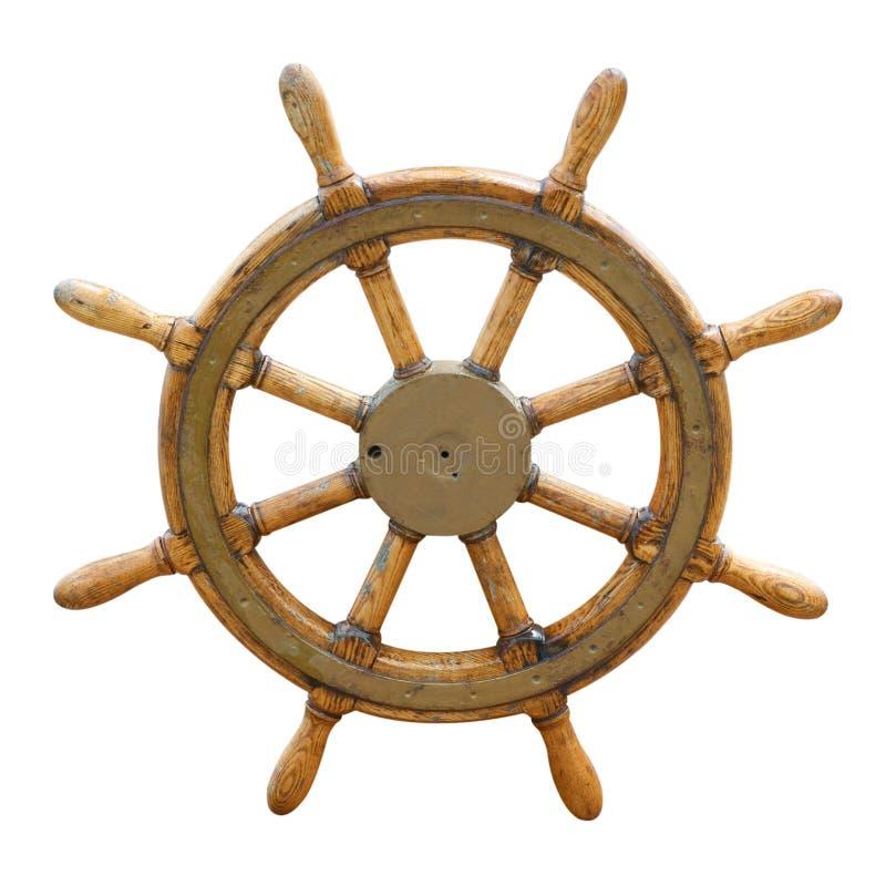 gammalt styrningshjul för fartyg royaltyfria bilder