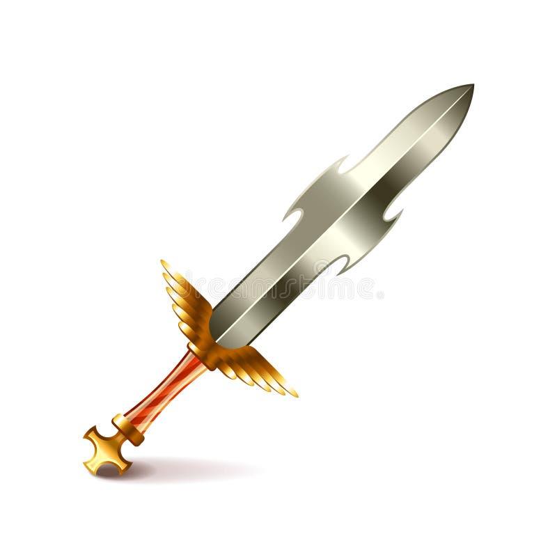 Gammalt svärd med det guld- handtaget på den vita vektorn royaltyfri illustrationer