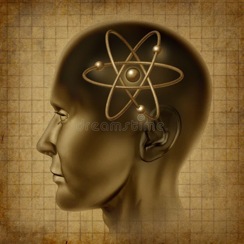 gammalt symbol för atomhjärnmolekyl royaltyfri illustrationer