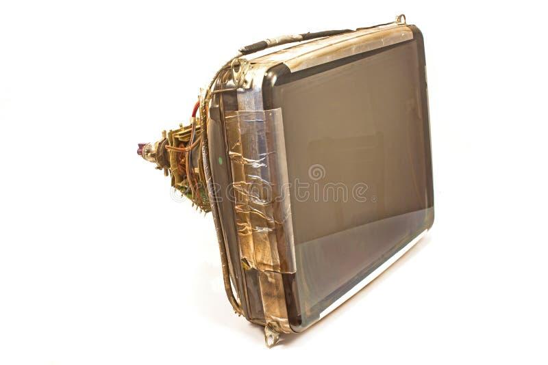Gammalt televisionkatodrör som isoleras på vit royaltyfria bilder