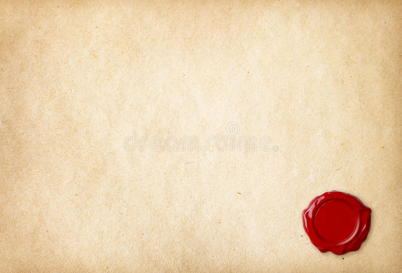 Gammalt tomt papper med den röda vaxskyddsremsan royaltyfri foto