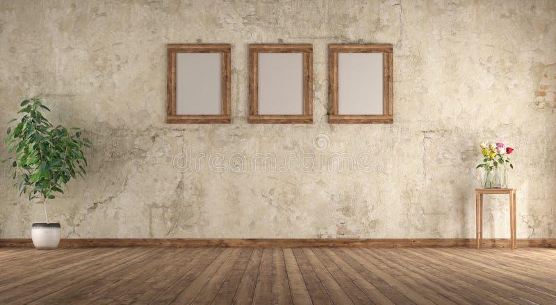 Gammalt tomt rum med träbildramen på väggen royaltyfri illustrationer