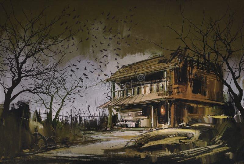 Gammalt träövergett hus, halloween bakgrund vektor illustrationer