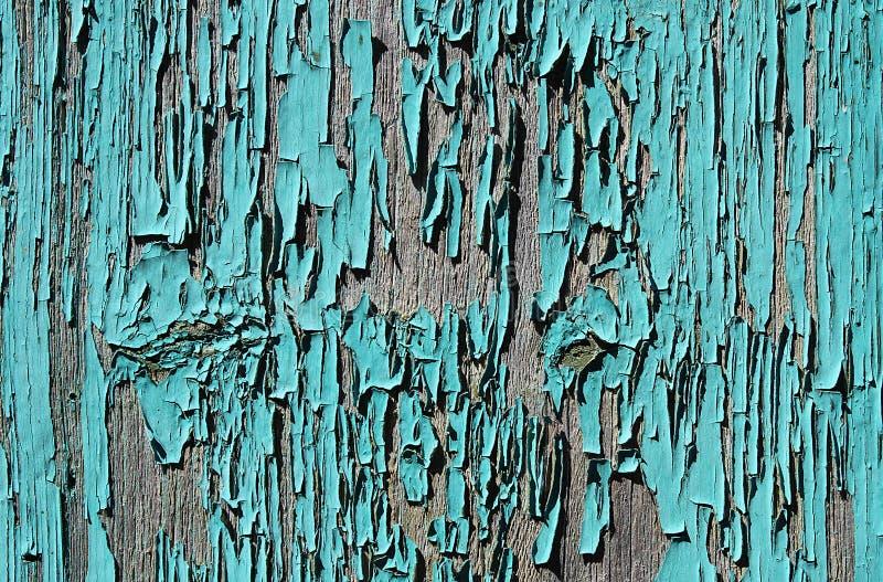 Gammalt träbräde med gammal skalningsgräsplanmålarfärg arkivbild