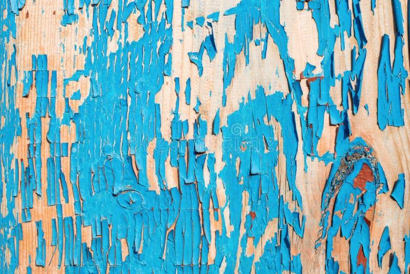 Gammalt träbräde som målas i blått royaltyfri foto