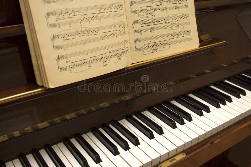 Gammalt träbrunt klassiskt piano med notsystemet och musik arkivfoto
