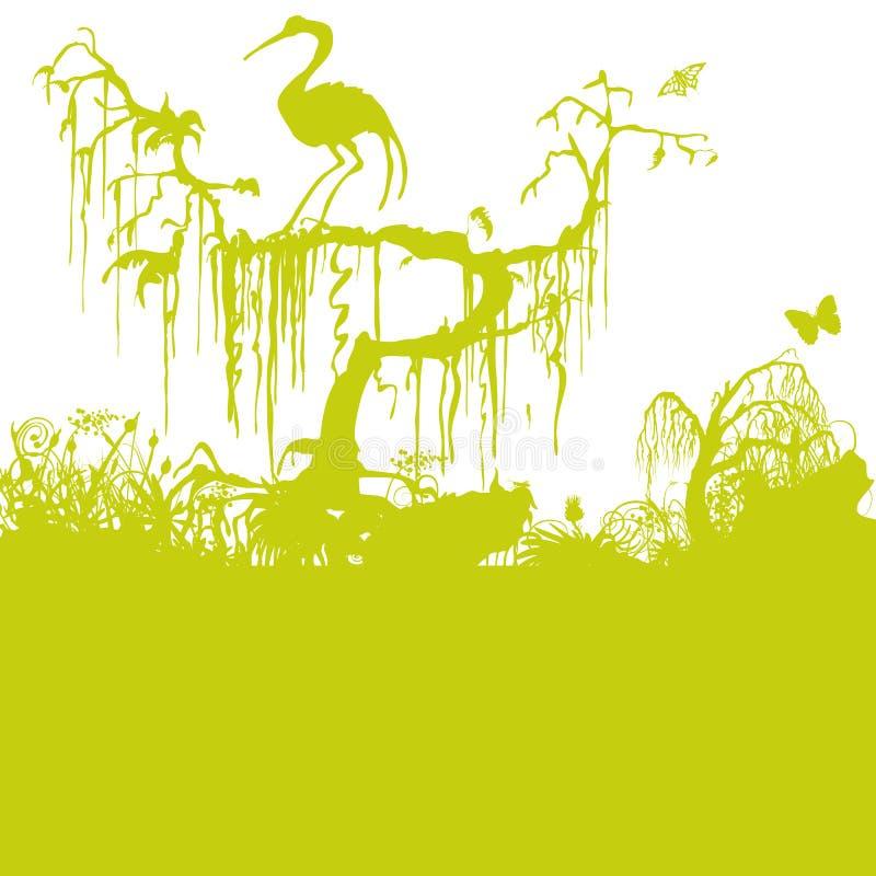 Gammalt träd i träsket stock illustrationer