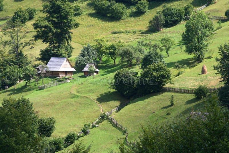 Gammalt trähus i Carpathian berg, sommar royaltyfri fotografi