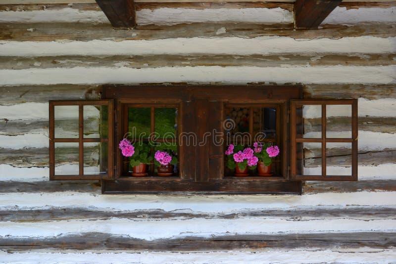 Gammalt trähus med blommor i fönstret royaltyfri foto