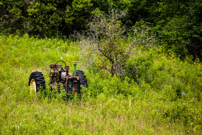 Gammalt traktorsammanträde i bevuxet betar royaltyfri fotografi