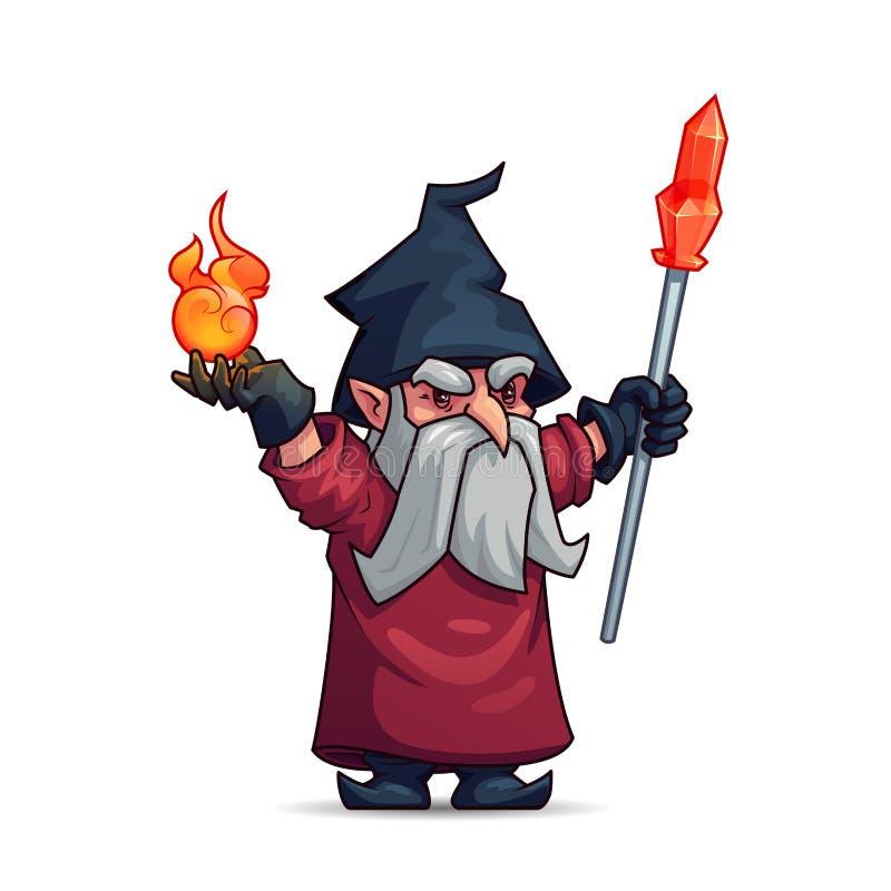 Gammalt trollkarl-, trollkarl- eller trollkarltecknad filmtecken stock illustrationer