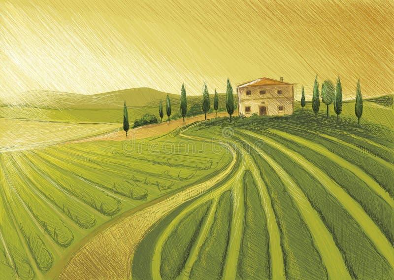 Gammalt Tuscany landskap arkivfoton