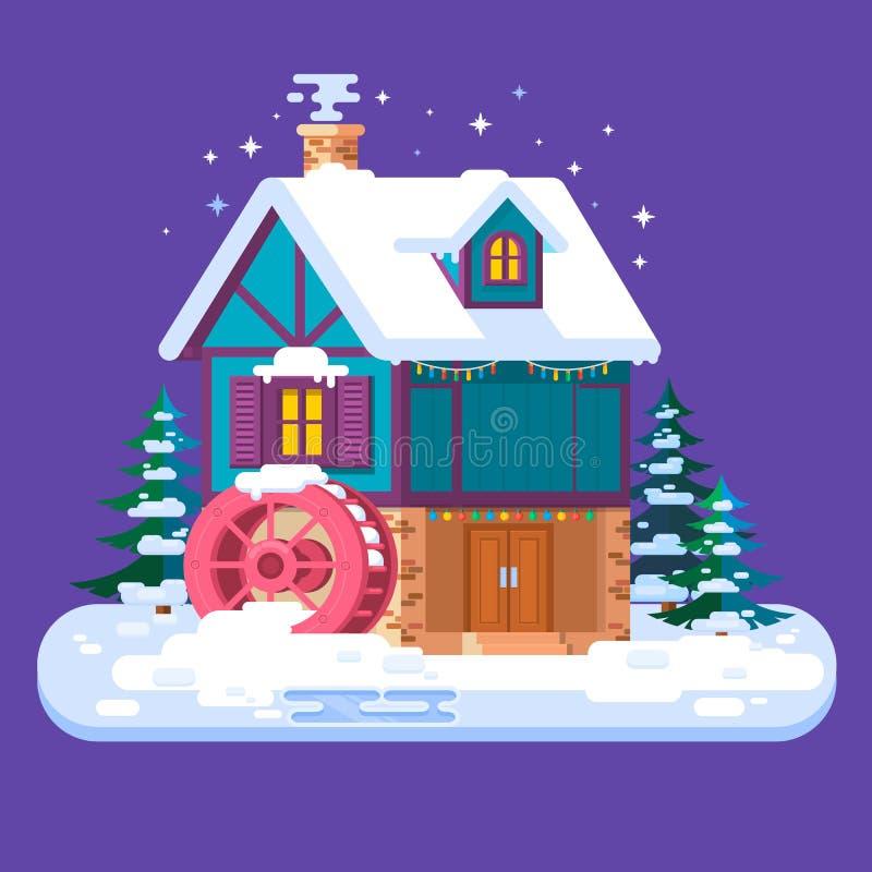 Gammalt vatten maler i vinter Kort för glad jul och för lyckligt nytt år med vinterhuset Plan stilvektorillustration royaltyfri illustrationer