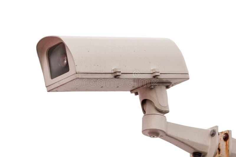 Gammalt villkor av CCTV-kameran på isolerad bakgrund royaltyfria bilder