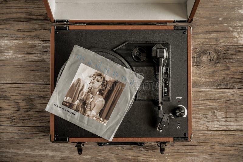 Gammalt vinylrekord av madonnan arkivbild