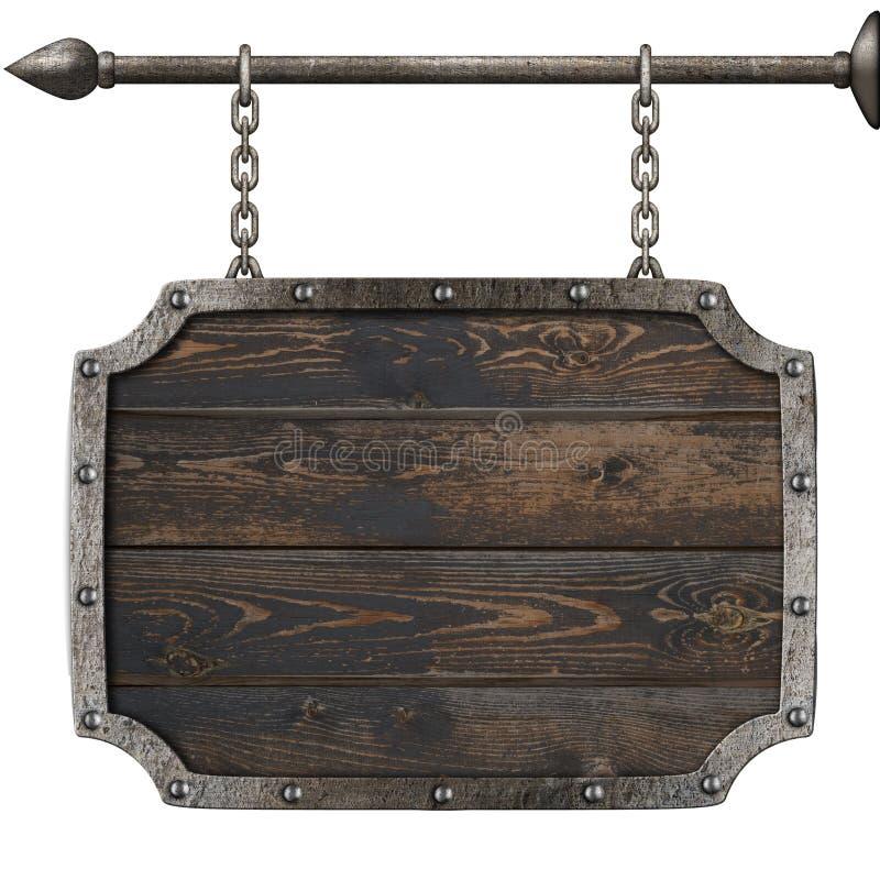 Gammalt wood medeltida tecken med illustrationen för kedjor 3d royaltyfri illustrationer