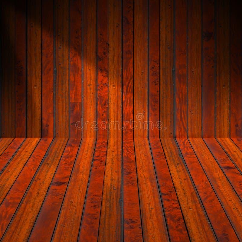 Gammalt Wood rum för inre royaltyfri illustrationer