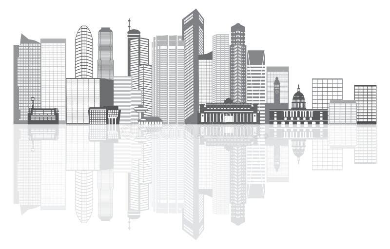 Gamme de gris d'horizon de ville de Singapour avec l'illustration de réflexion illustration libre de droits