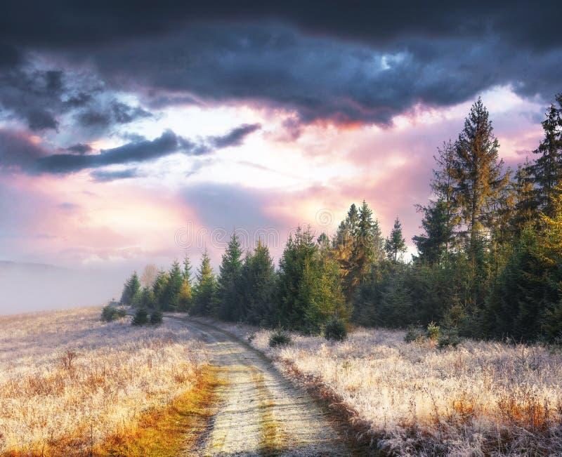 Gamme de montagne d'octobre pendant les premiers jours d'hiver Route au hoarfro images libres de droits