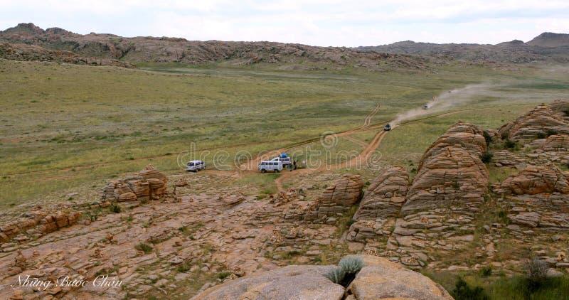 Gamme des montagnes en pierre dans du sud de la Mongolie photographie stock libre de droits