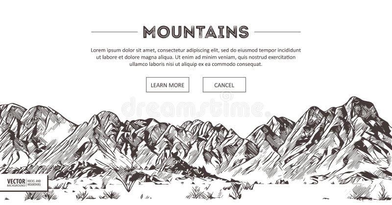 Gamme di montagne Schizzo della natura Disegno appuntito della mano di schizzo del paesaggio della montagna, nello stile incision illustrazione vettoriale