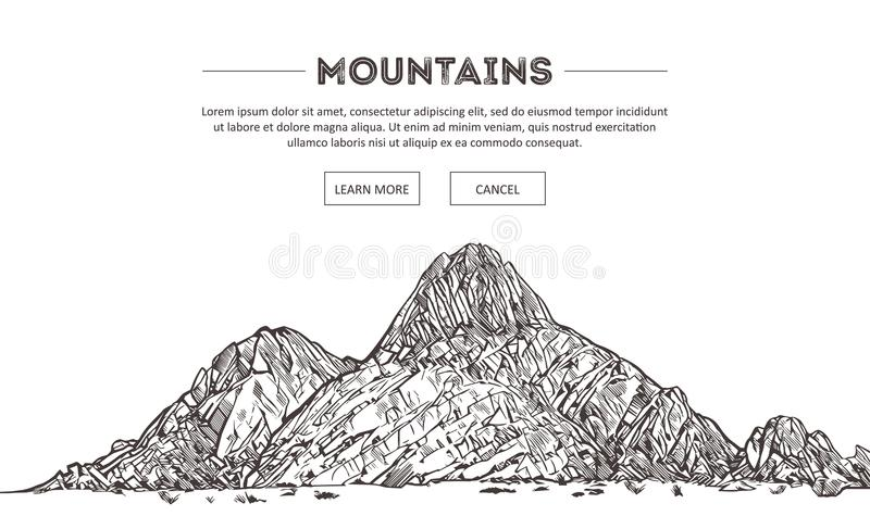 Gamme di montagne Schizzo della natura Disegno appuntito della mano di schizzo del paesaggio della montagna, nello stile incision illustrazione di stock