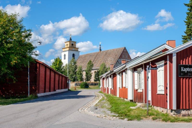 Gammelstad kościelny miasteczko w północnym Szwecja obraz stock