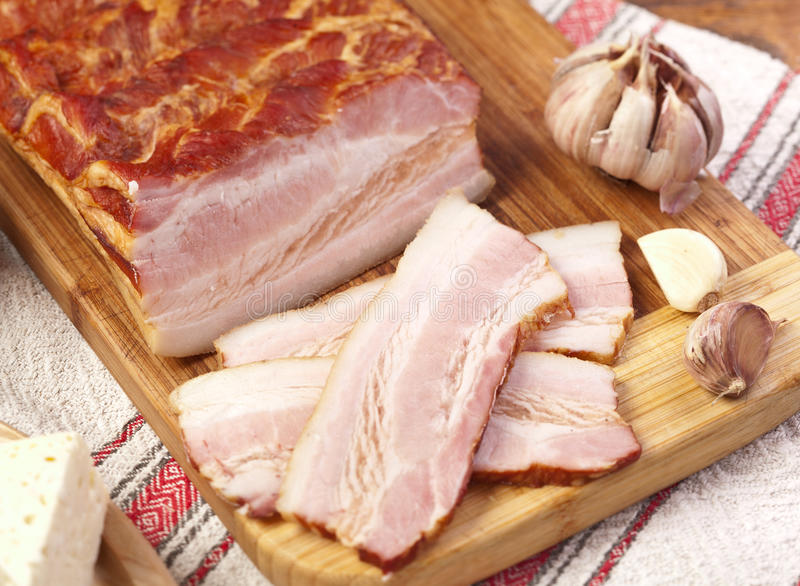 Gammon Of Bacon On The Cutting Board. Stock Photo