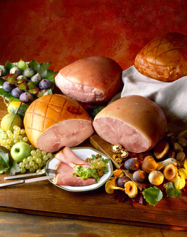 Gammon and boiled hams royalty free stock photography