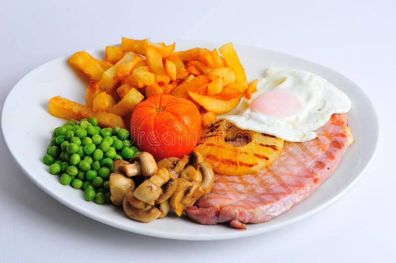 Gammon egg and Chips stock photography