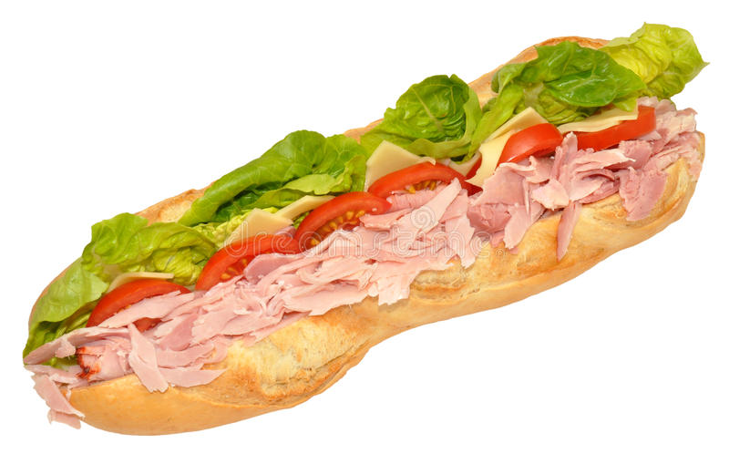 Gammon Ham Sandwich Baguette. Gammon ham salad sandwich in a crusty bread baguette, isolated on a white background royalty free stock photo