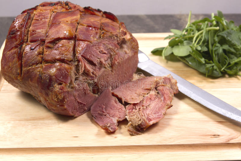 Gammon joint. A gammon joint with watercress royalty free stock photo