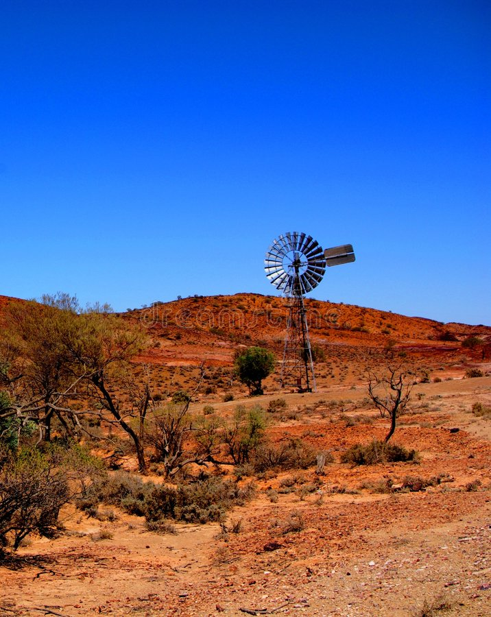 Gammon Ranges Windmill. Photograph taken in the Northern Flinders/Gammon Ranges featuring a windmill (Outback Australia royalty free stock photography