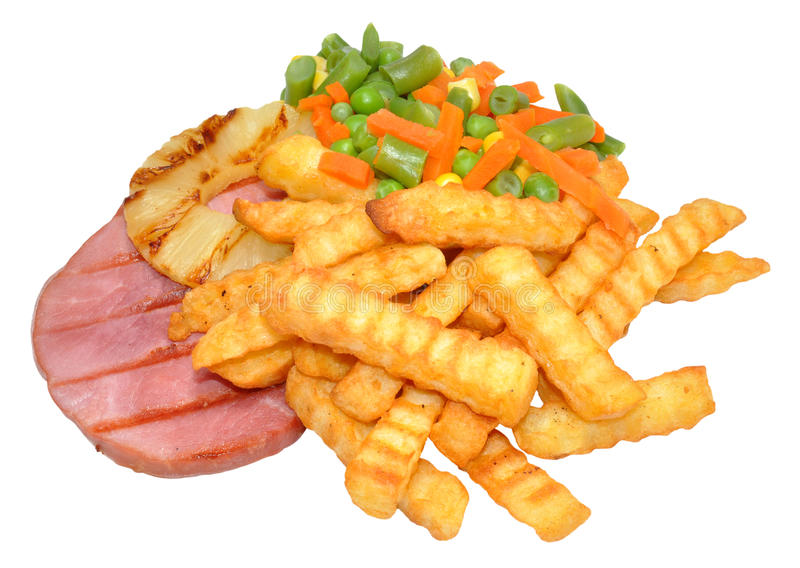 Download Gammon Steak And Chips Stock Photo - Image: 41679485