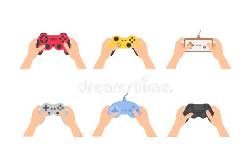 Gampads установленного значка ретро и современные и кнюппели для игры в руках плоско бесплатная иллюстрация