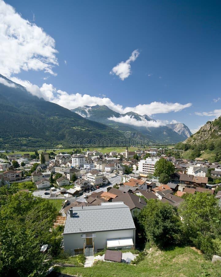 gampel瑞士城镇 免版税图库摄影