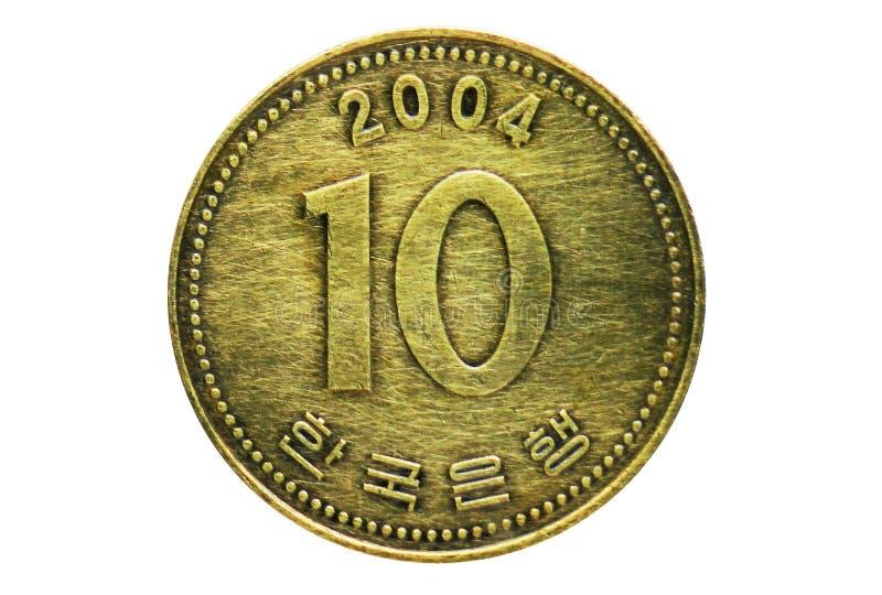 10 ganó 10 la moneda gruesa, banco de la Corea del Sur Anverso, problema 1991 imágenes de archivo libres de regalías