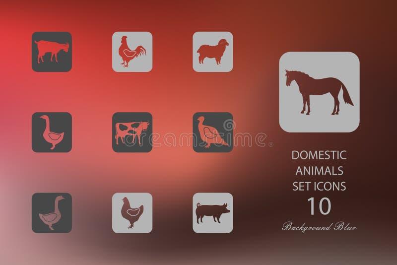 Ganado y aves de corral Sistema de iconos planos en fondo borroso libre illustration