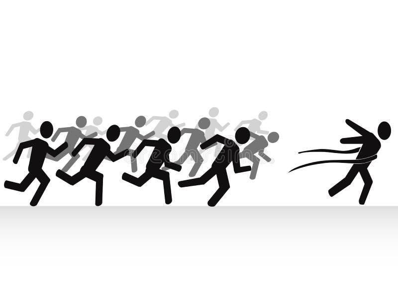 Ganador con la meta ilustración del vector